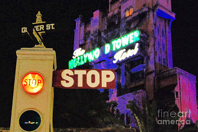 Digital Art - Twilight Zone Tower Of Terror Stop Sign Hollywood Studios Walt Disney World Prints Film Grain by Shawn O'Brien