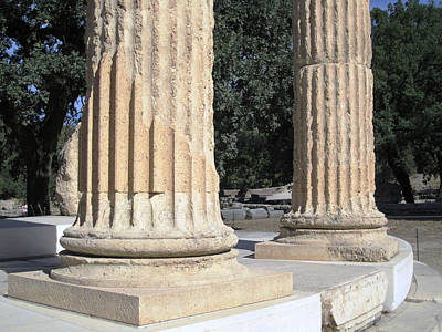 Photograph - Twin Columns Olympia Greece by John Shiron