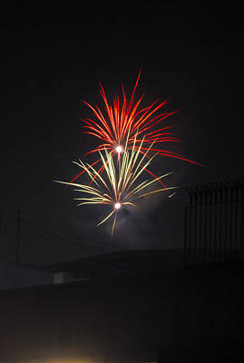 Fireworks Painting - Twin Fireworks by Sumit Mehndiratta