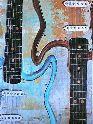 Art Print featuring the painting Twin Guitars by Mary Kay Holladay