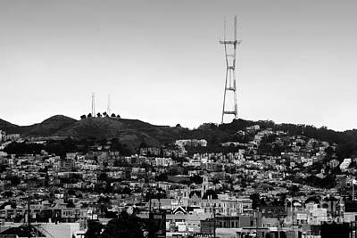 Twin Peaks In San Francisco . Black And White Art Print