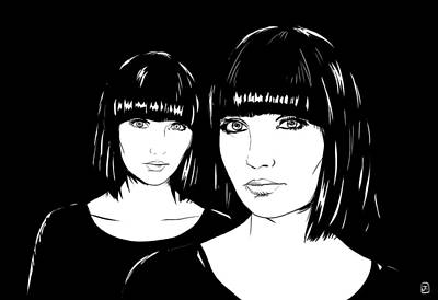 Hairstyle Drawing - Twin Sisters by Giuseppe Cristiano