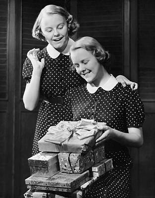 Twin Teenage Girls W/ Wrapped Gifts Art Print by George Marks