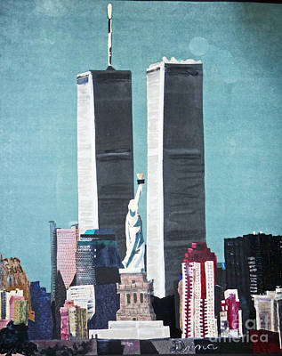 Statue Of Liberty Mixed Media - Twin Towers And Liberty by Drina Fried