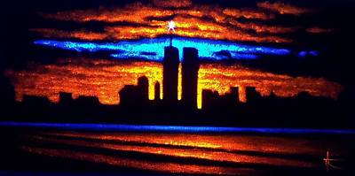 Sunsert Painting - Twin Towers In Black Light by Thomas Kolendra