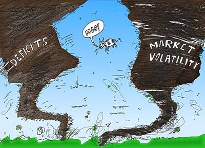 Editorial Cartoon Mixed Media - Twin Twisters Of Economics by OptionsClick BlogArt