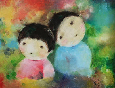 Art Print featuring the painting Twins 1 by Becky Kim