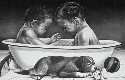 Artist Curtis James Drawing - Twins by Curtis James