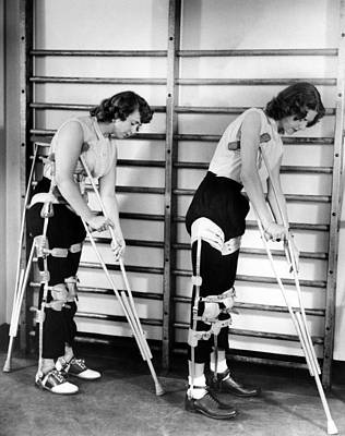 Infantile Paralysis Photograph - Two Adult Women Polio Victims With Leg by Everett