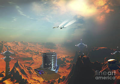 Settlement Digital Art - Two Aircraft Fly Over An Enemy Base by Corey Ford