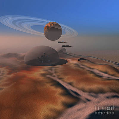 Settlement Digital Art - Two Aircraft Fly Over Domes by Corey Ford