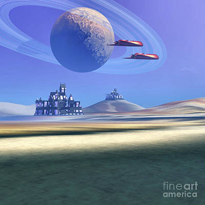 Two Aircraft Guard This Alien Planet Art Print by Corey Ford