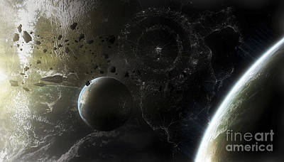 Two Alien Destroyer Vessels Patrol Art Print
