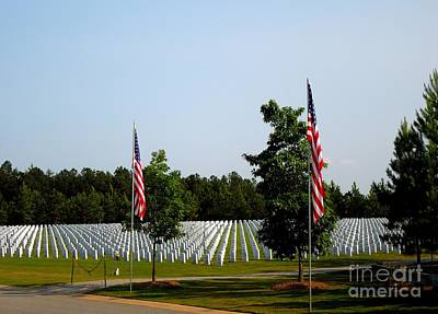 Photograph - Two American Flags At Grave Stones by Renee Trenholm