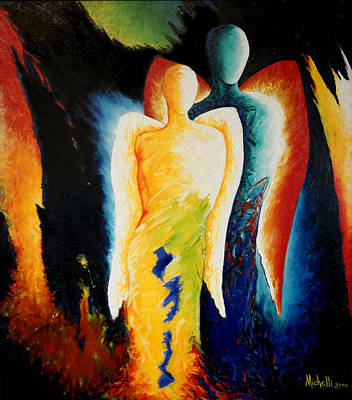 Painting - Two Angels by Joe Michelli