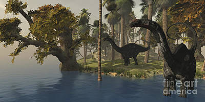 Triassic Digital Art - Two Apatosaurus Dinosaurs Visit An by Corey Ford