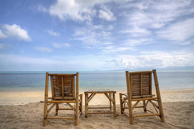 Bamboo Chair Photograph - Two Bamboo Beach Chair by Copyright Anek