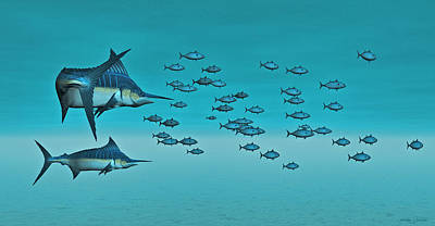 Art Print featuring the digital art Two Blue Marlin by Walter Colvin