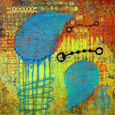 Art Print featuring the painting Two Blue Object by Lolita Bronzini