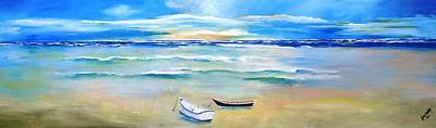 Two Boats Ashore  Art Print by Gary Smith