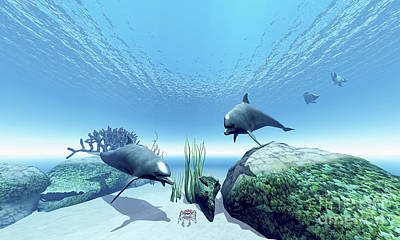 Aquatic Digital Art - Two Bottlenose Dolphins Take Interest by Corey Ford