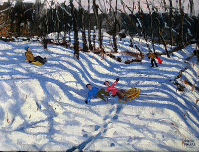 Two Boys Falling Off A Sledge Art Print by Andrew Macara