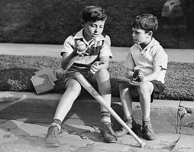 Two Boys Playing Baseball Print by George Marks
