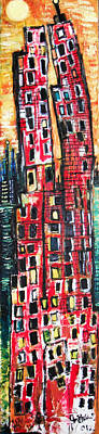 Found Object Painting - Two Buildings  by Jon Baldwin  Art