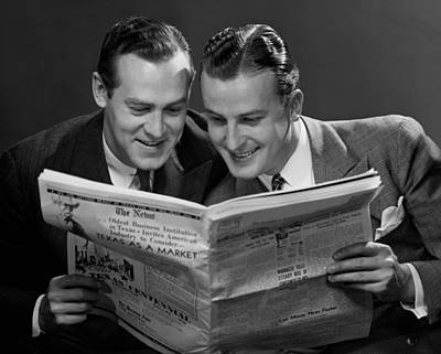Two Businessmen Reading Newspaper Art Print by George Marks