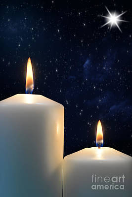 Two Candles With Star Of Bethlehem  Art Print by Michael Gray