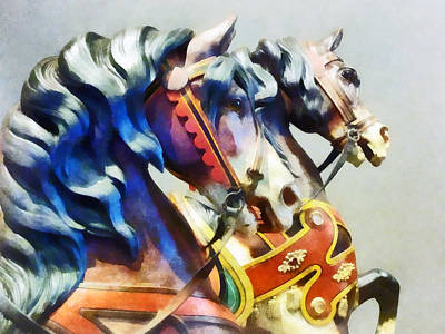 Carousel Photograph - Two Carousel Horses Closeup by Susan Savad