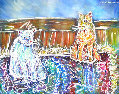 Two Cats On The Carpet Art Print by M C Sturman