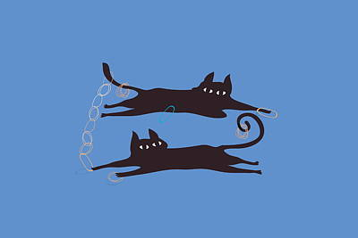 Playful Digital Art - Two Cats Playing With Rubber Bands by Meg Takamura