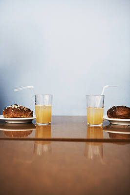 Two Cinnamon Buns And Two Glasses Of Lemonade In A Cafe, Sweden Art Print