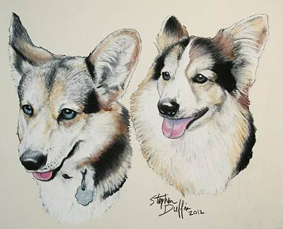 Two Corgies Art Print by Stephen Duffin