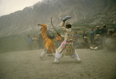 Two Dancers Perform A Local Dance Using Art Print