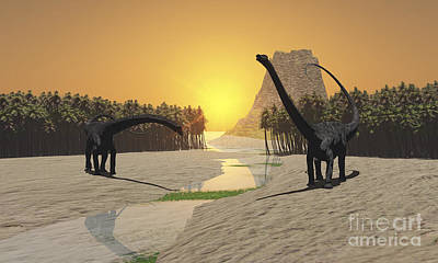 Diplodocus Digital Art - Two Diplodocus Dinosaurs Come by Corey Ford