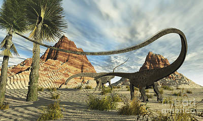 Diplodocus Digital Art - Two Diplodocus Dinosaurs Search by Corey Ford