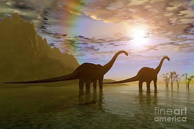 Two Diplodocus Dinosaurs Wade Art Print by Corey Ford