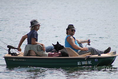 Photograph - Two Dudes And A Dog Fishing by Pamela Walrath