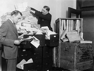 File Cabinets Photograph - Two Employees Of The Federal Radio by Everett