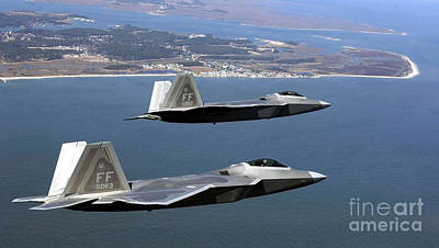 Sheep - Two F-22 Raptors Fly In Formation by Stocktrek Images