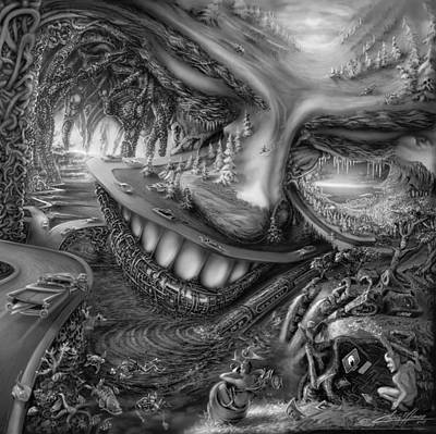 Hr.giger Painting - Two Faces by Chris Elliman