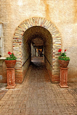Photograph - Two Flower Pots And A Archway by James Steele