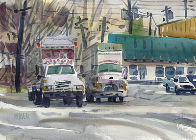 Delivery Truck Painting - Two Fords by Donald Maier