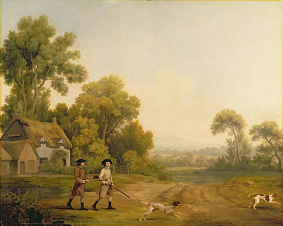 The Dog House Painting - Two Gentlemen Going A Shooting by George Stubbs