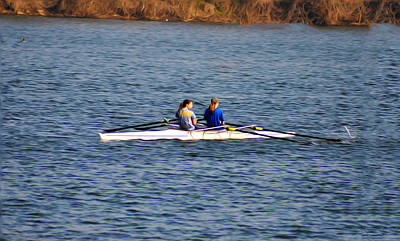 Rowing Crew Digital Art - Two Girls Rowing by Bill Cannon