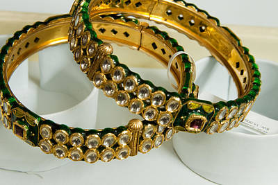 Two Green And Gold Bangles On Top Of Each Other Print by Ashish Agarwal