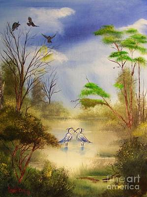 Painting - Two Herons by Crispin  Delgado