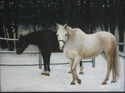 Snowscape Painting - Two Horses In The Snow by Dianne Browne Smith